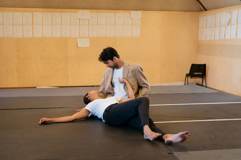 Anjana Vasan and Shubham Saraf in rehearsal for 'An Adventure', photo by Helen Murray