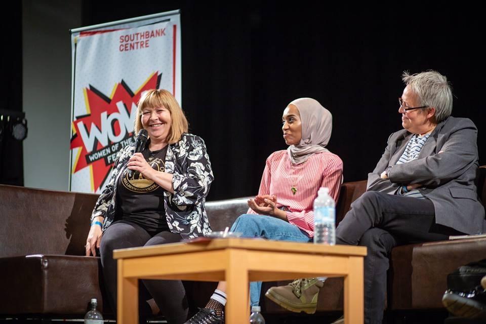 Fiona Broadford (left) speaking at the WOW Bradford festival 2018. Photo credit: Karol Wyszynski.