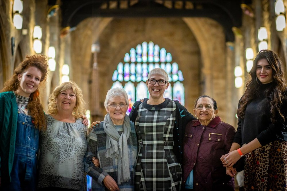 Jodie (right) and her grandmother Champa (second-to-right) at the WOW Bradford festival 2018. Photo credit: Karol Wyszynski.