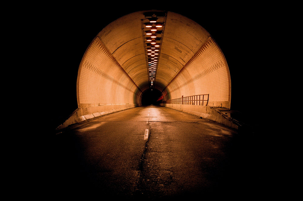 an empty tunnel in Chattanooga, TN after a rain