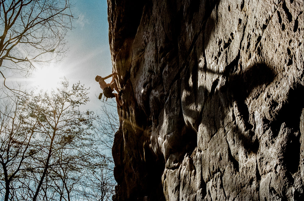Seth Bentley fighting shadows at Laurel Snow State Park in Tennessee