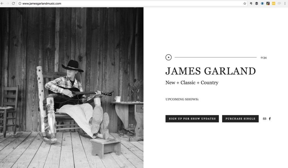 Simple one page site for James Garland.