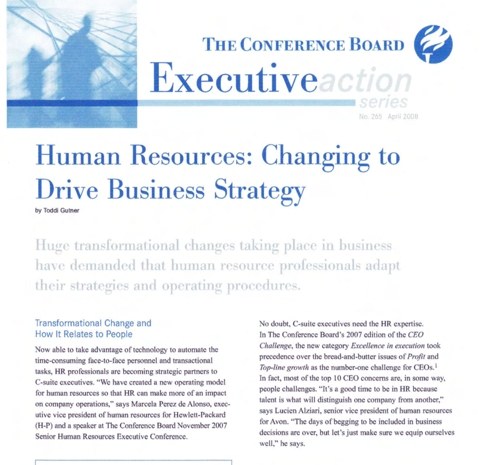 Human resources: changing to drive business strategy