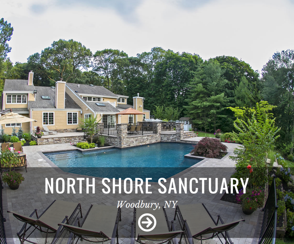 Landscape design with stunning custom made wood tables and chairs in Long Island, NY