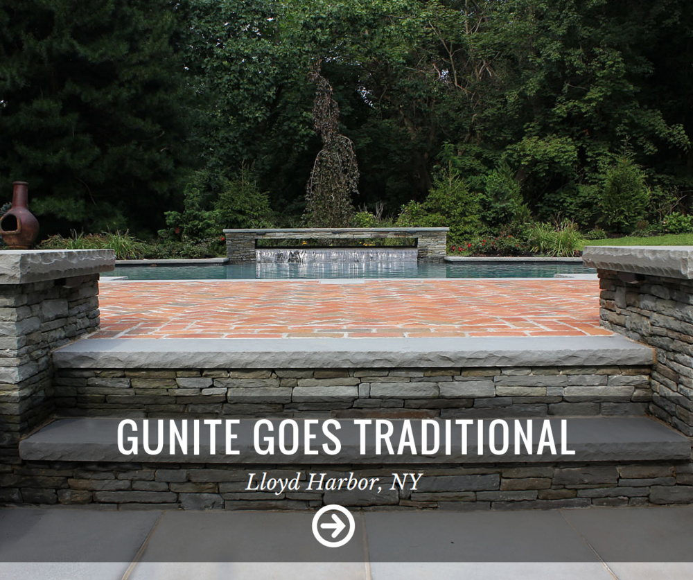 Landscape design innovation used by gunite pool builder in Smithtown, Brookville, Glen Cove NY