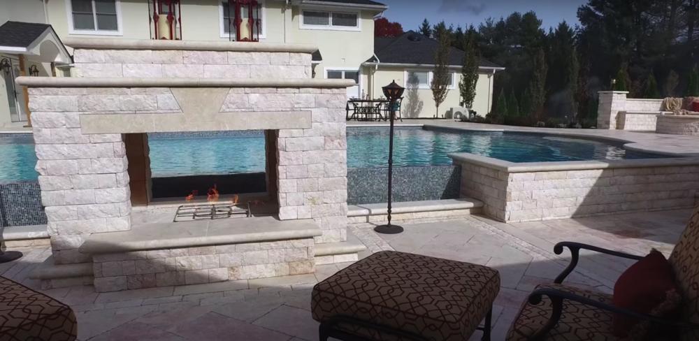 Outdoor Fireplace Long Island, NY | Custom Masonry Design | Gunite Pool Builder