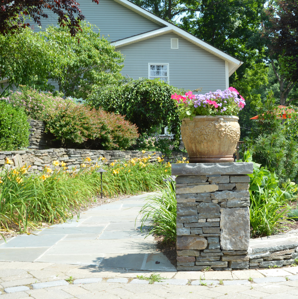 Using Steps and Pillars to Upgrade Your Oyster Bay, NY, Front Yard Landscape Design