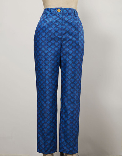 plaid blue patterned women's golf pants