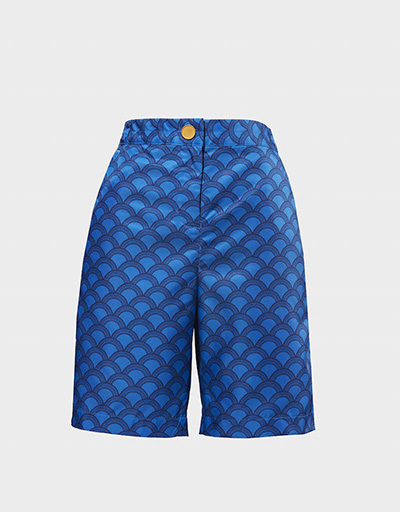 clad patterned women's golf shorts blue