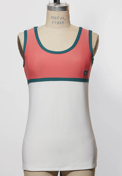 salmon colored and white women's golf tank