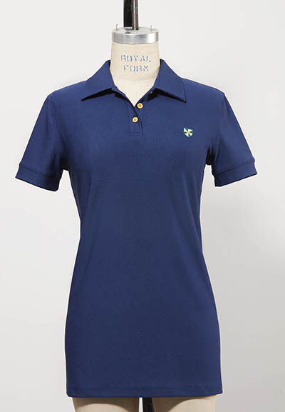 dark blue short-sleeved women's golf shirt