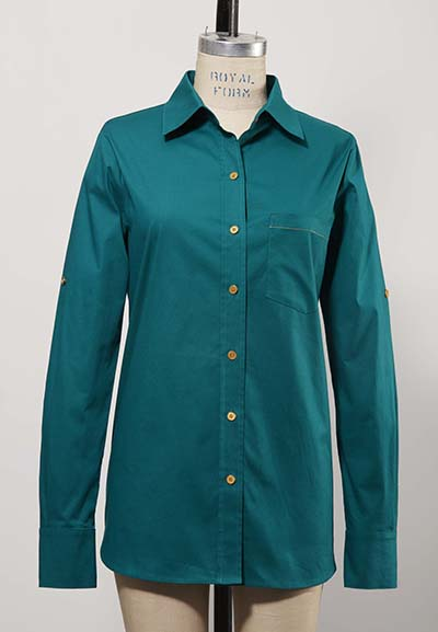 long sleeve dark green women's golf shirt