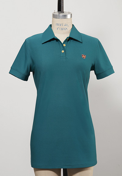 short-sleeved dark green women's golf shirt
