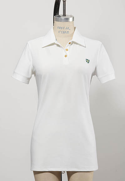 short-sleeved white women's golf shirt