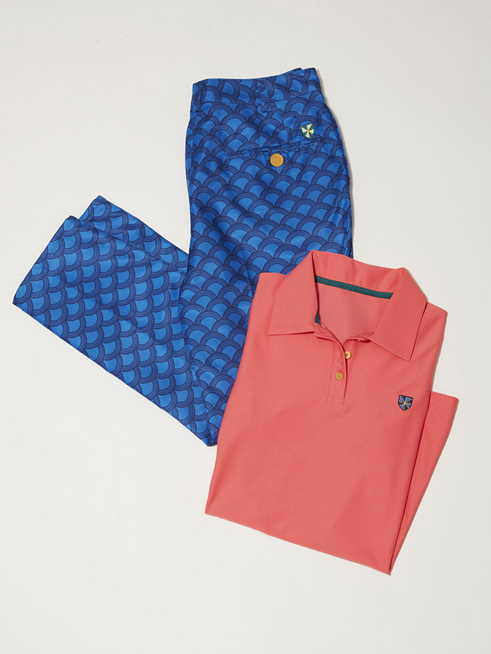 blue golf pants with matching salmon colored shirt