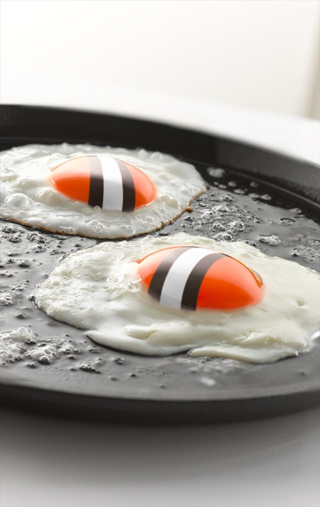 TRG Reality image of eggs with Cleveland Browns colors.