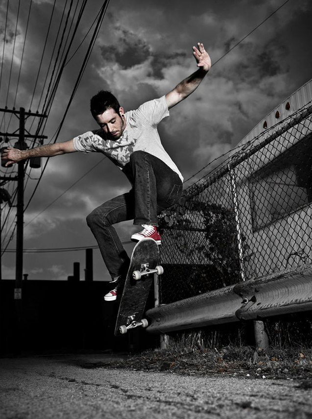 Black and white image of a skateboarder
