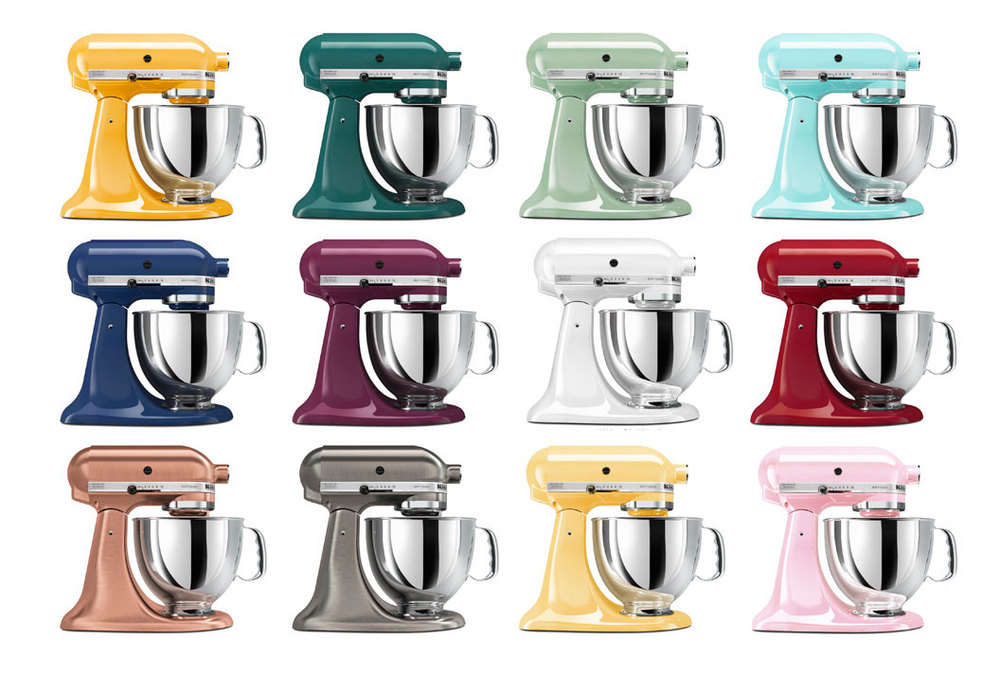 computer generated imagery of colorful kitchen aid mixers