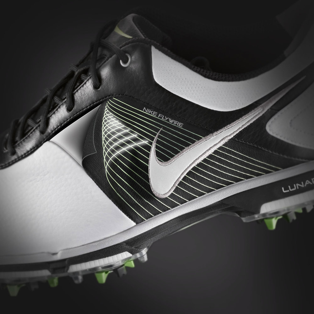 close up cgi image of nike golf shoes