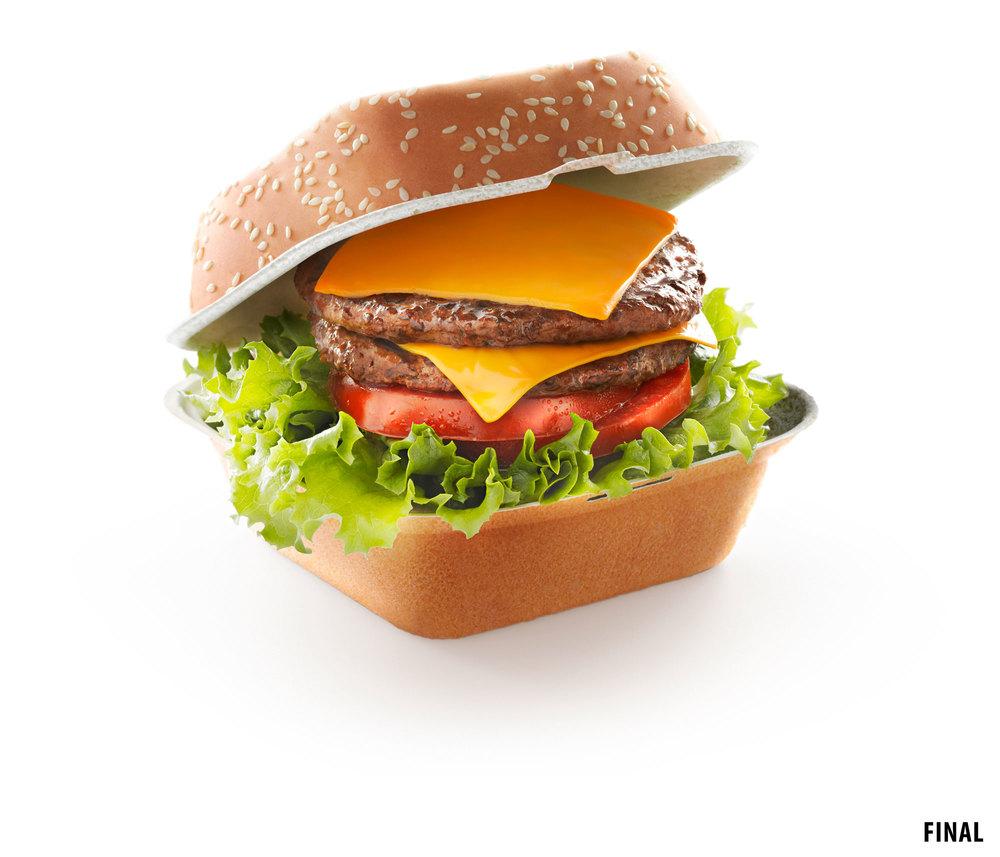 composite image of cheeseburger in a bun box