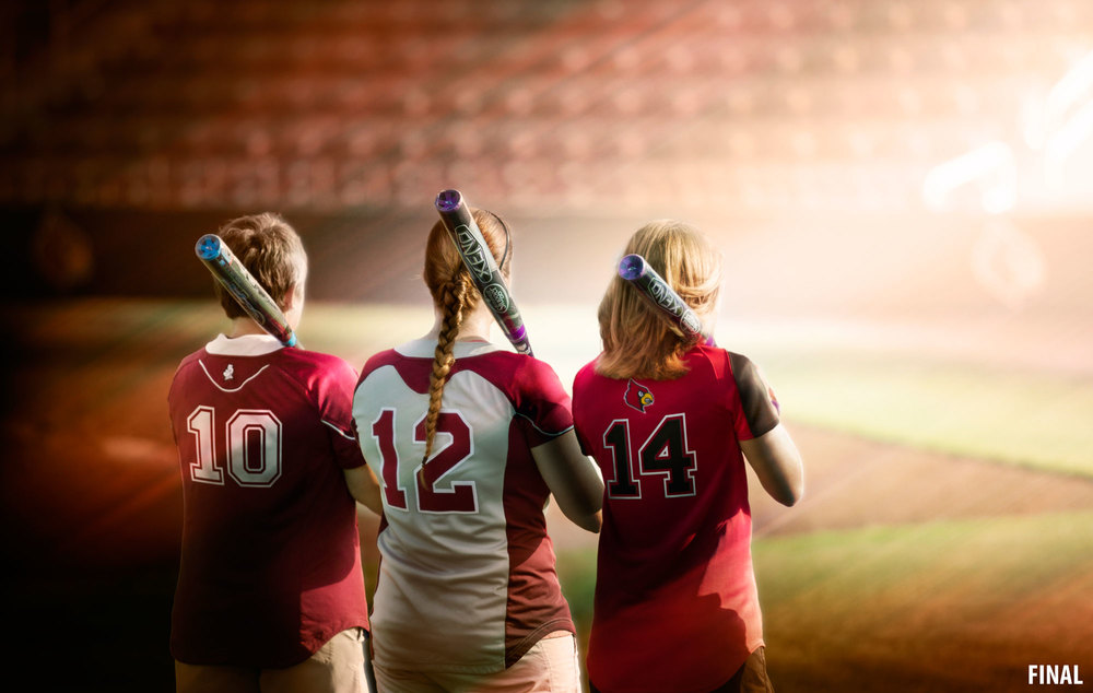 composite imagery of three kids on softball field