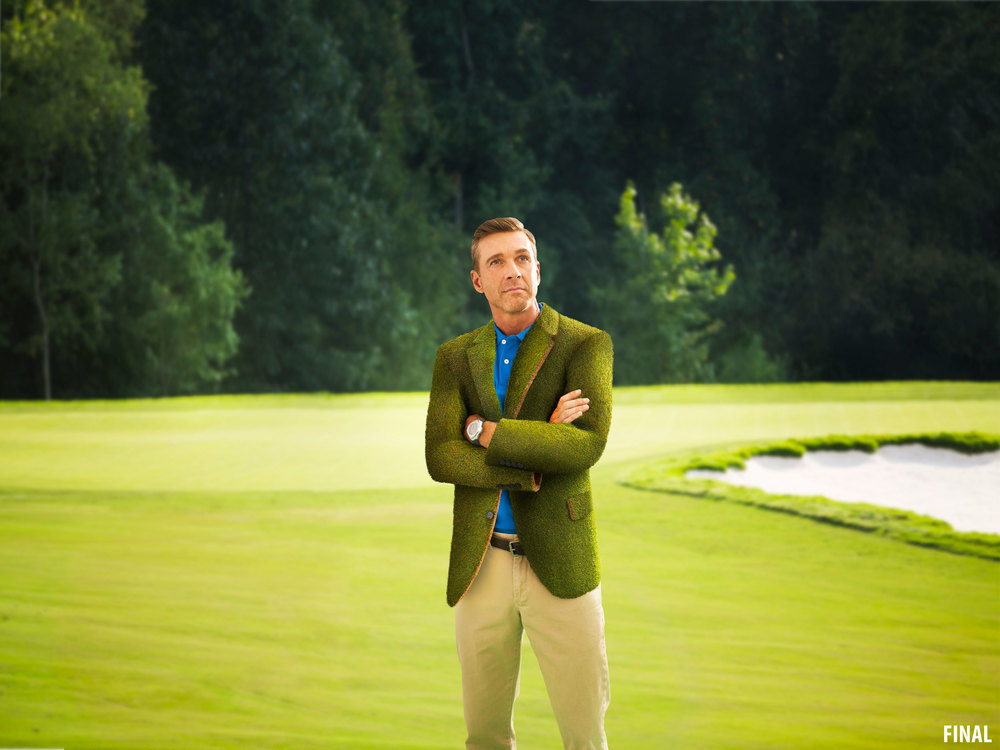 composite imagery photo of man on golf course in grass jacket