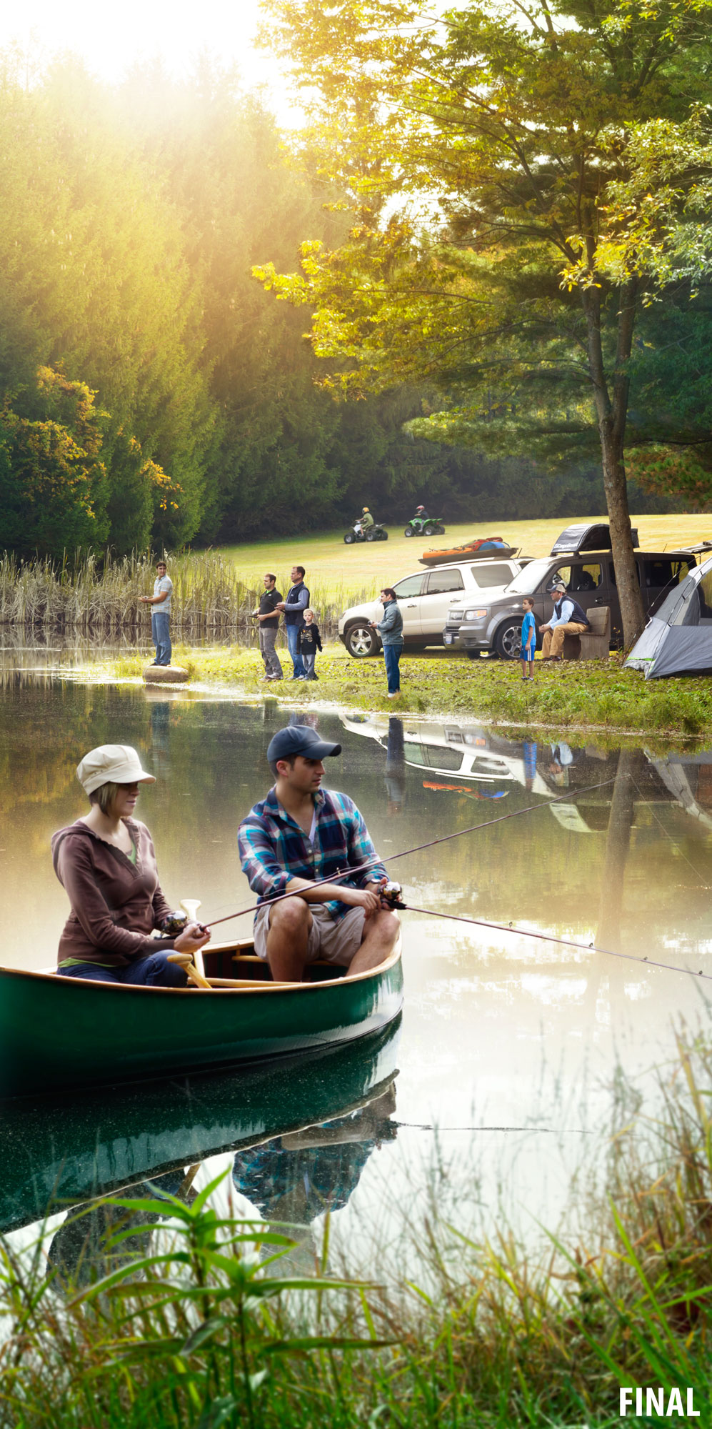 composite image of kids and adults fishing in pond