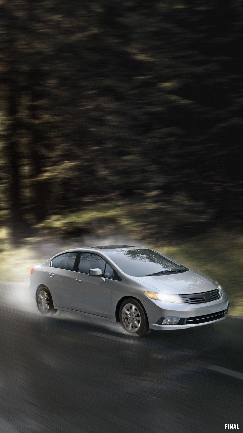composite image of car driving through rain