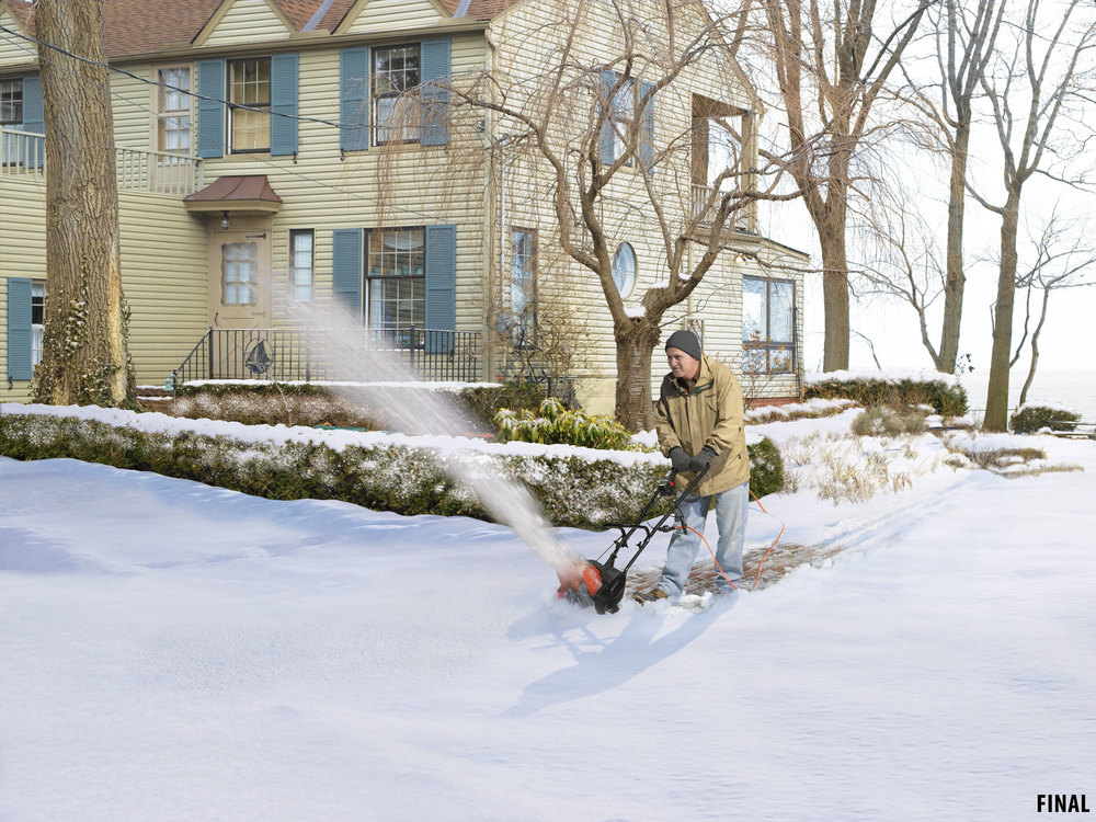 composite image of man using snowblower
