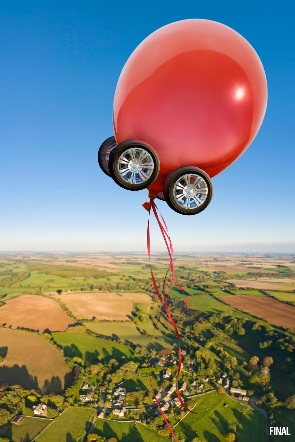 professional composite image of balloon with wheels floating away