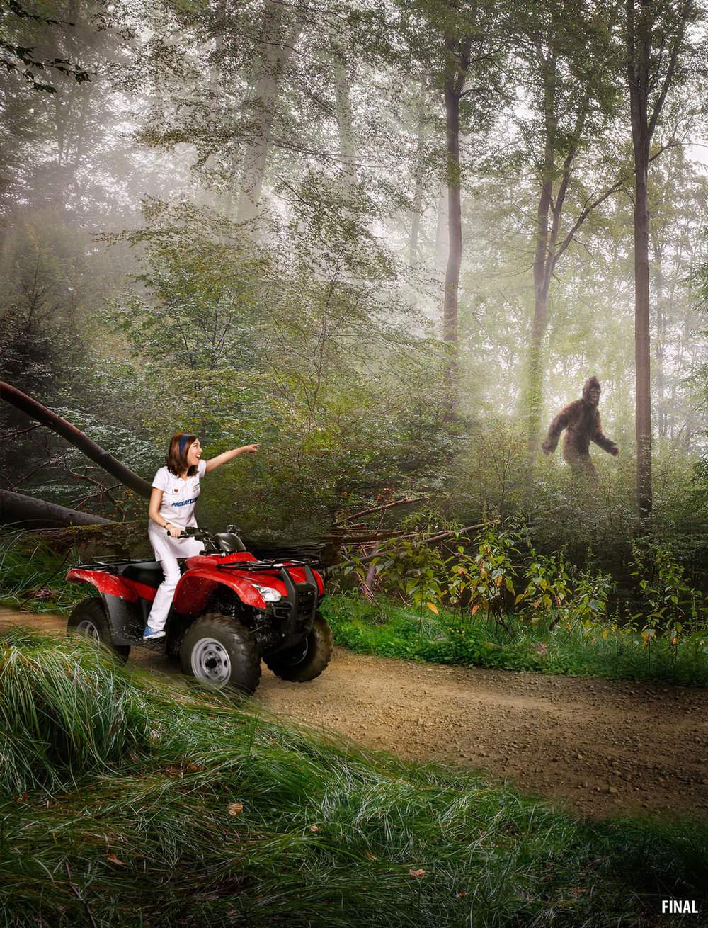 professional composite imagery photo of flo on four wheeler with bigfoot