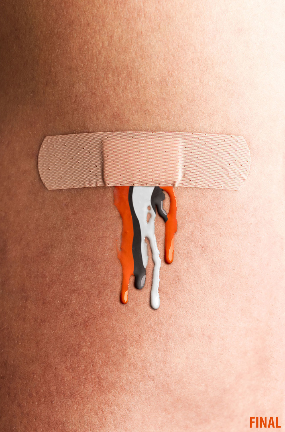 professional composite image of band aid with cleveland brown blood dripping