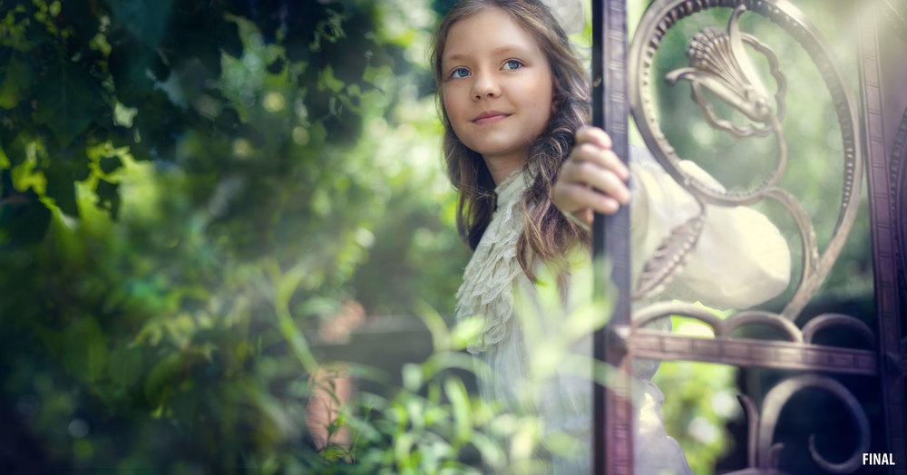 composite image of girl in woods with iron door