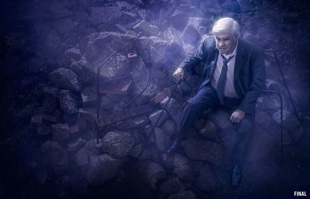 professional composite photograph image of old man in rubble