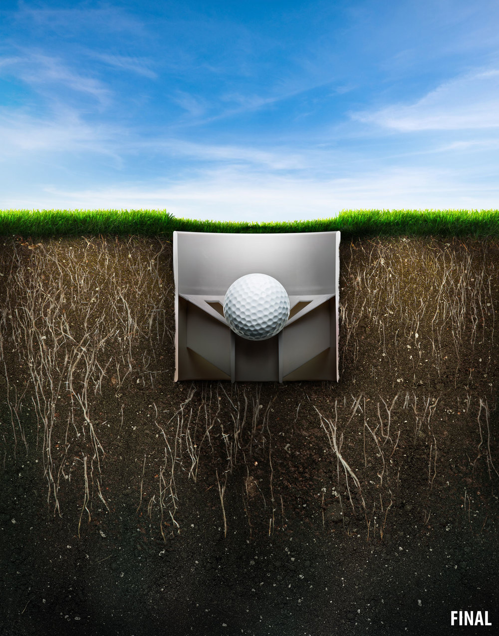 professional composite image of golf ball in golf hole view from side underground