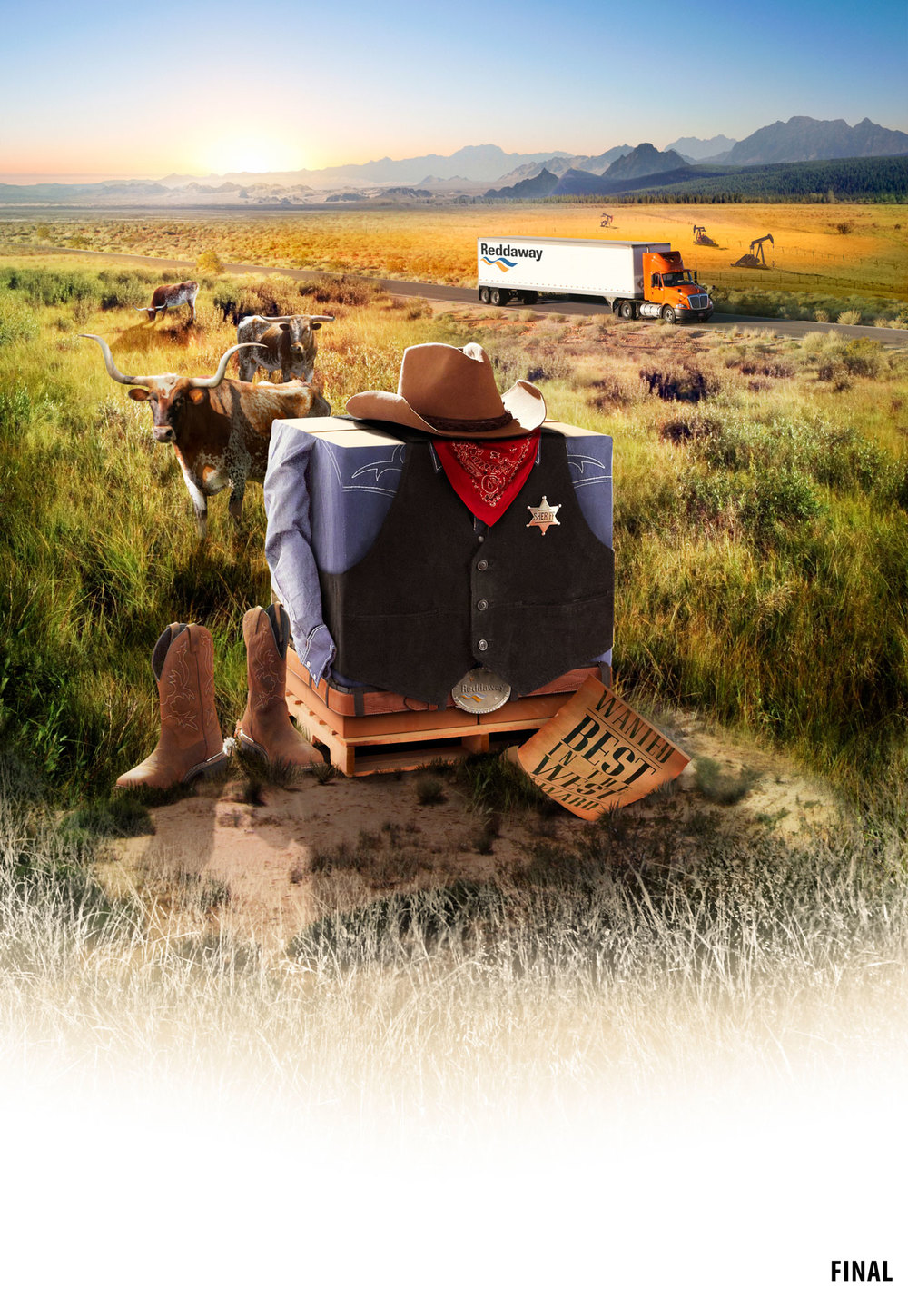 retouching image photo of boxes dressed as cowboys in country