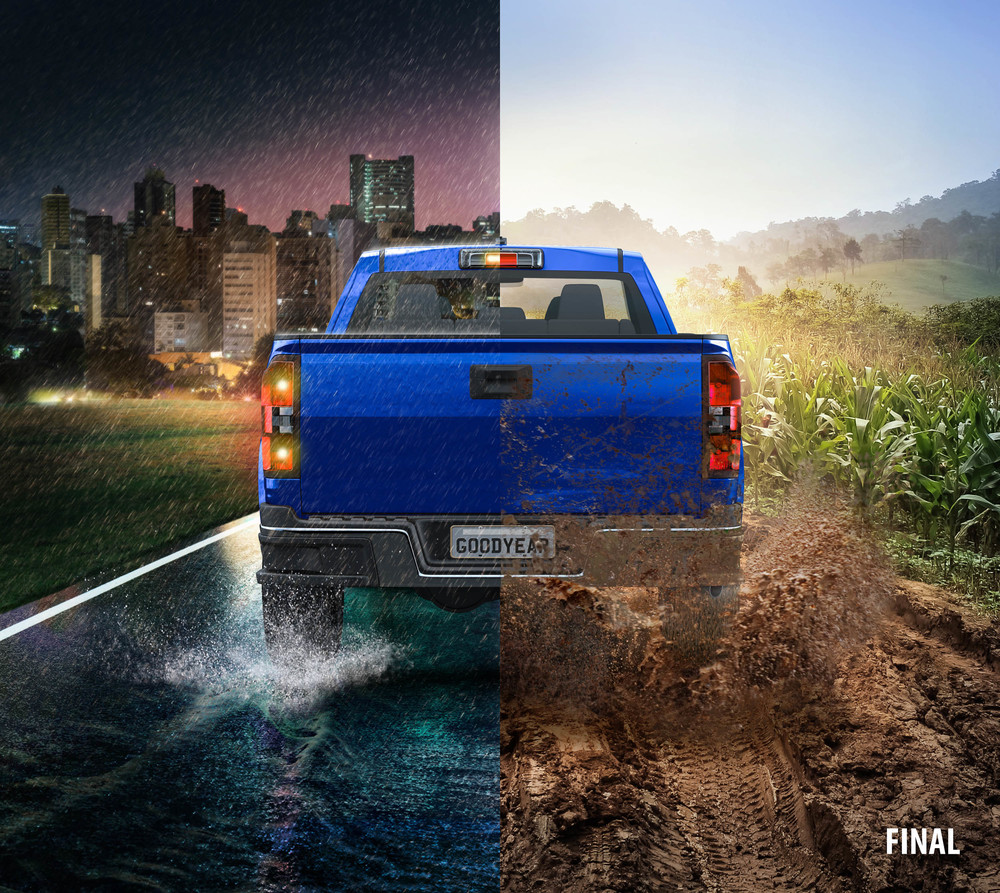 professional composite imagery photo of truck in half rain and half mud