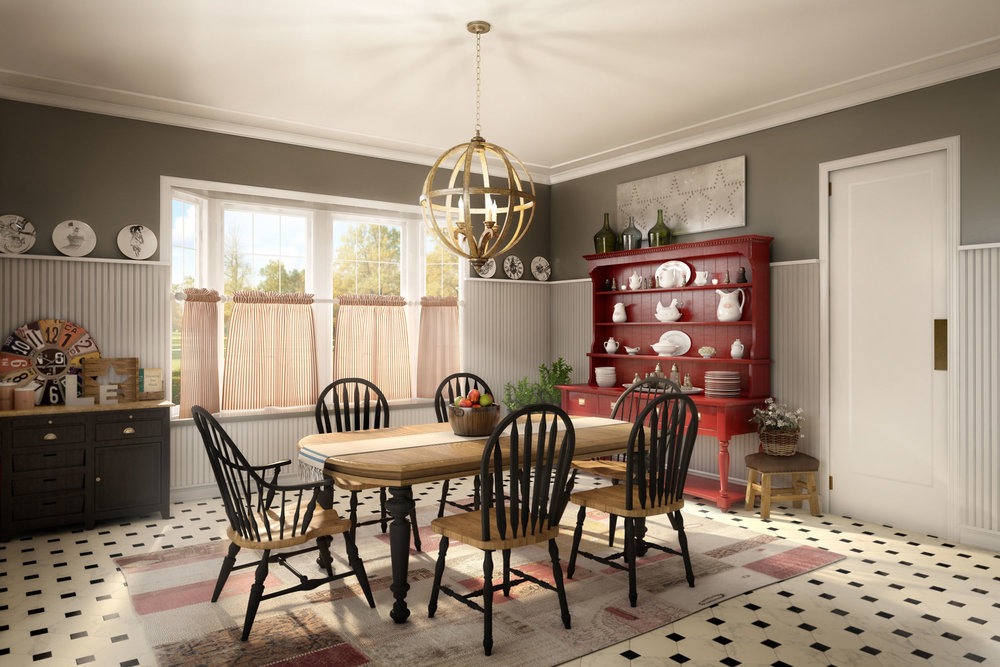 computer generated imagery of dining room