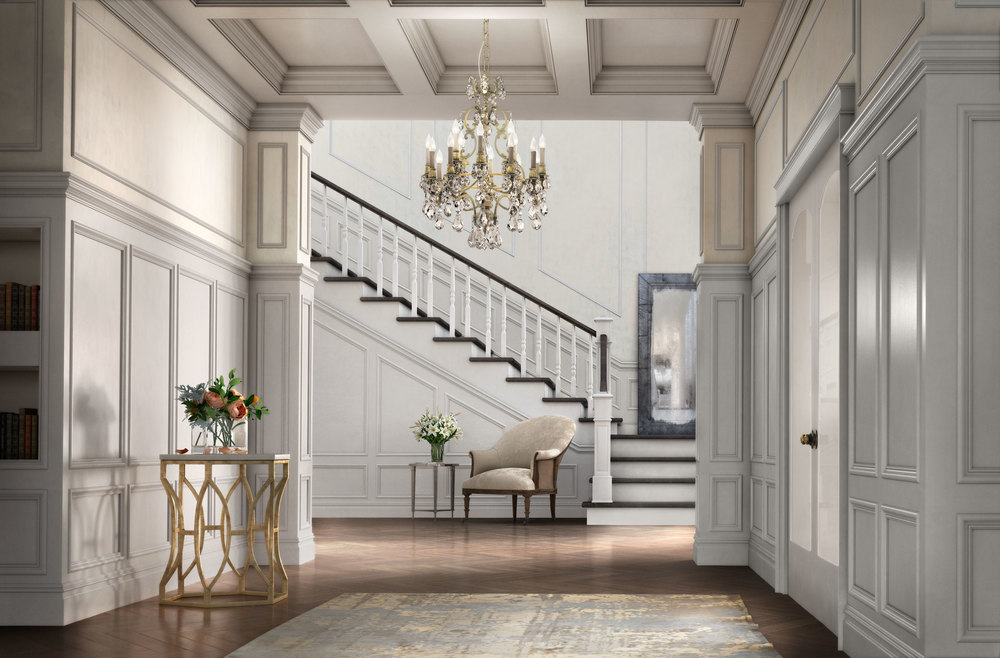 computer generated image of foyer and staircase