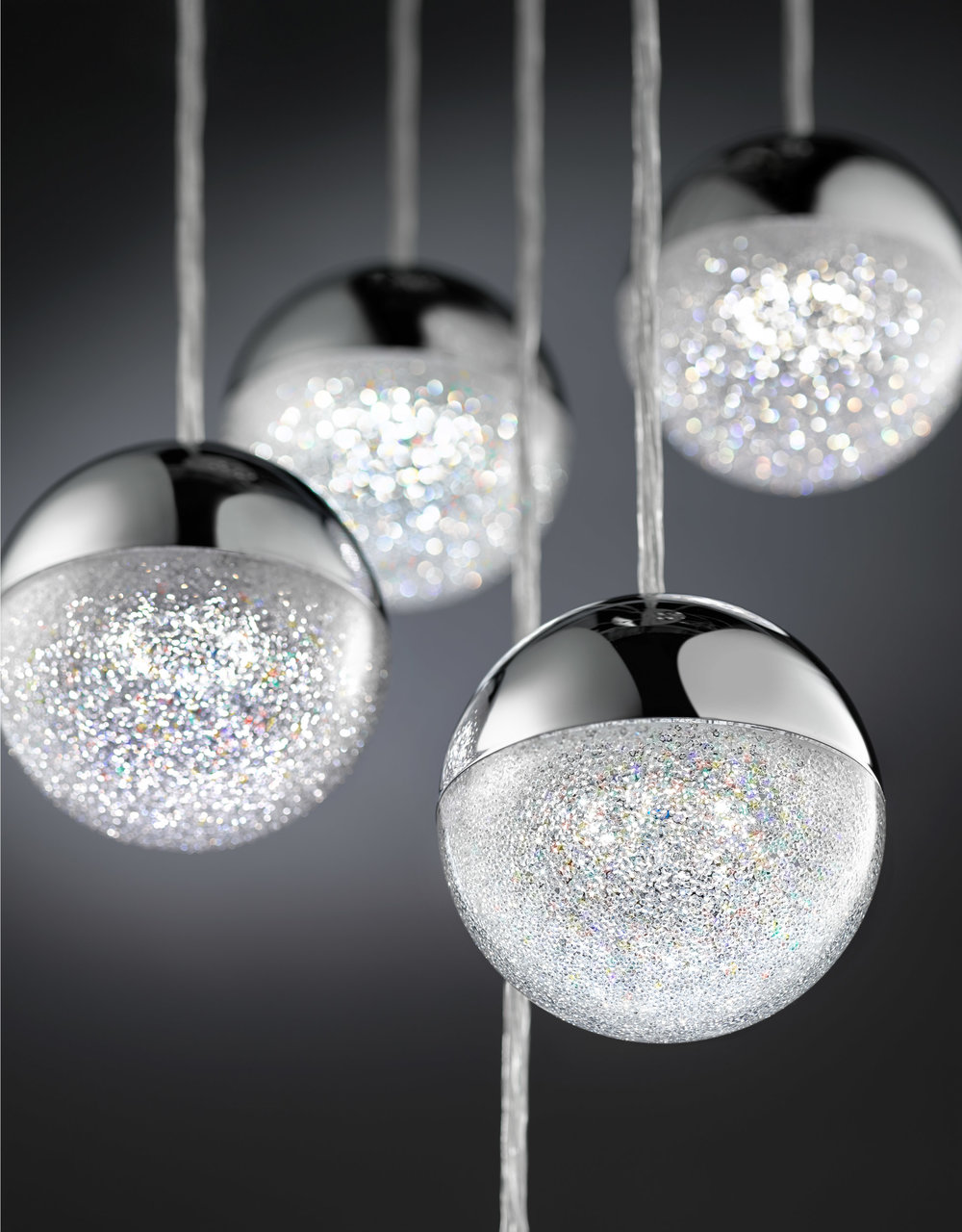 commercial product photography image of hanging sphere lights