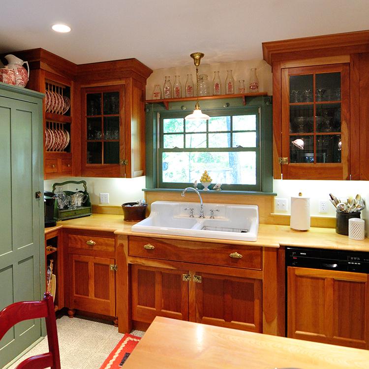 Glass mullion doors, shelf above window, antique green cupboard