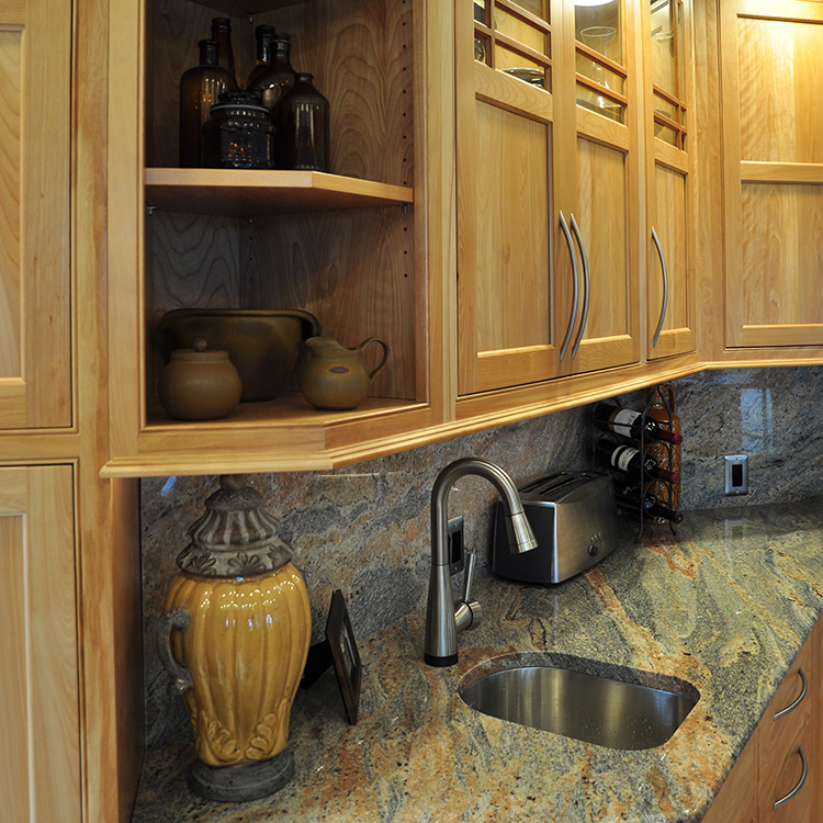 Crystal Gold Granite Countertop, Cabinet Bottom Trim