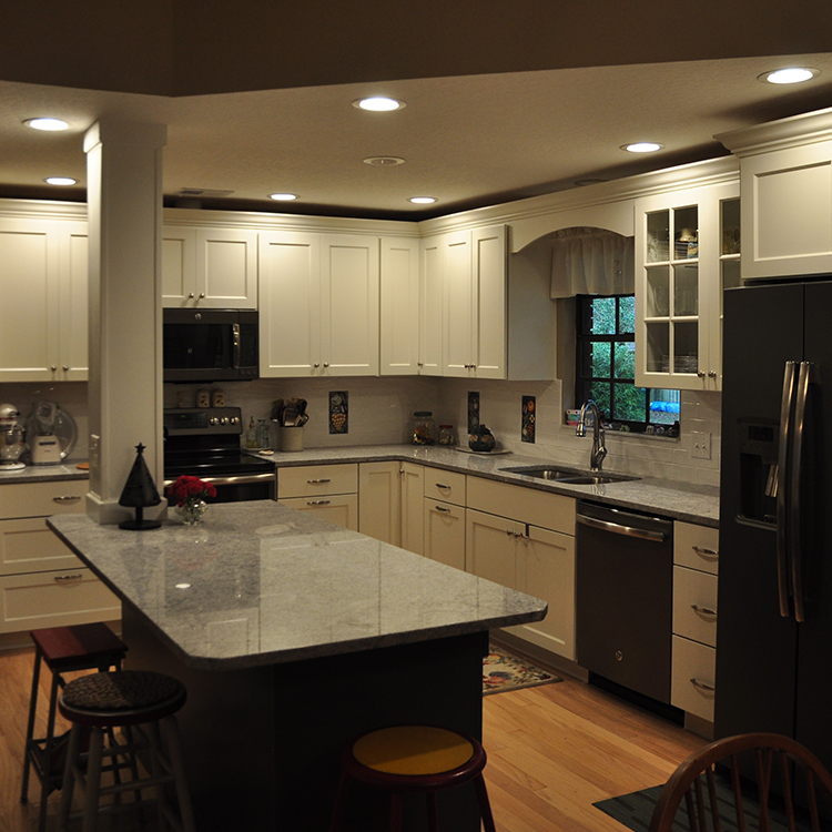White Painted Cabinetry, Full Overlay, Crown Molding, Arch Valence