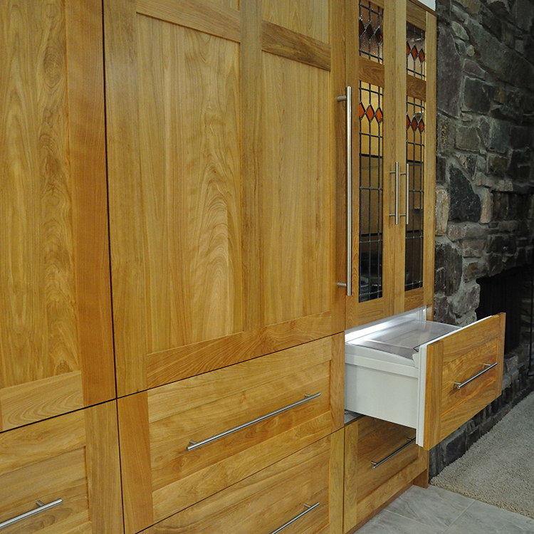 Sub-Zero Refrigeration Drawers Built-In, Leaded Glass Display Cabinet