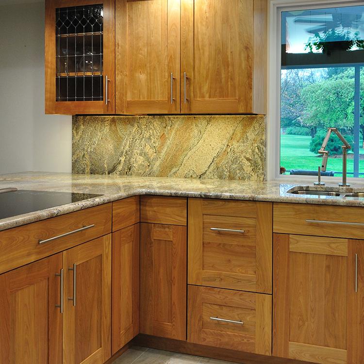 Granite Backsplash, Leaded Glass Door, Push Through Corner Susan