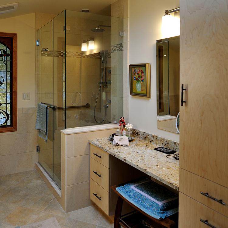 Make-Up Area, Flush Full Overlay Doors, Glass Shower Enclosure, Tile Shower