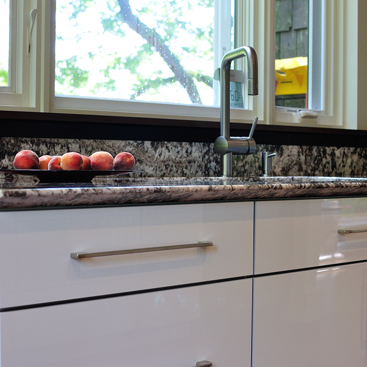Cabinet Detail, Granite Backsplash With Task Angle Plug And Walnut Sill