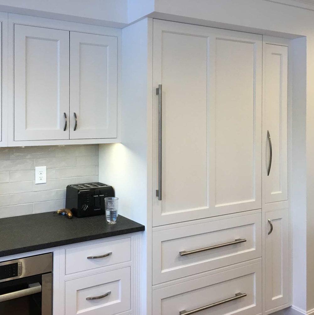 Paneled Sub-Zero Integrated Refrigeration,Pull-out Pantry (right of Sub-Zero),Light Gray Backsplash Tile