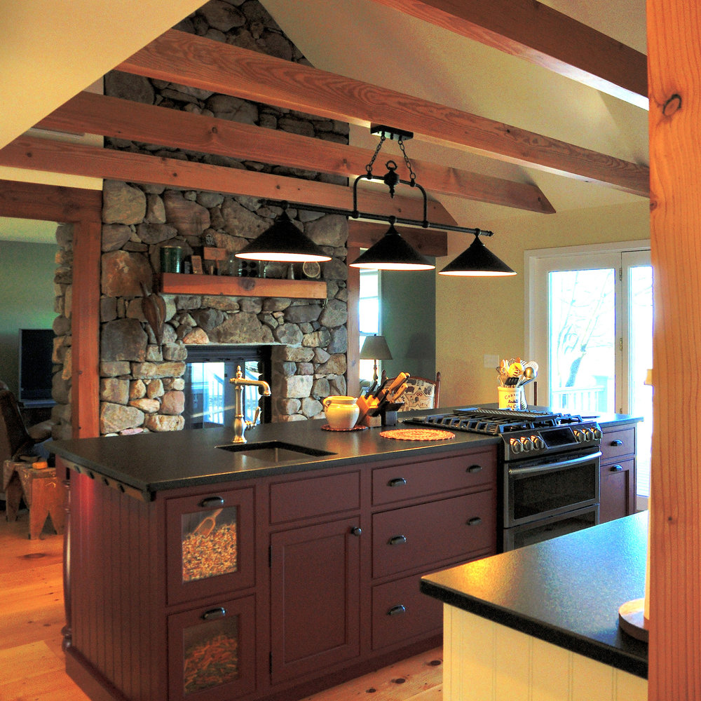 Vaulted Ceiling with Fir Beams, Plato Woodwork Personalized Custom Cabinetry Island