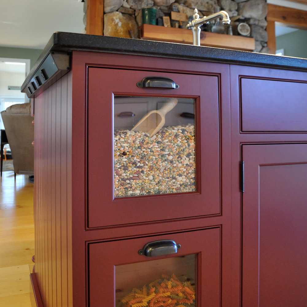 Glass Drawer Front, Beaded V-groove Cabinet Ends